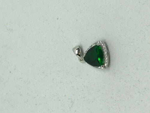 natural Emerald Gemstone Triangle Sterling Silver Pendant