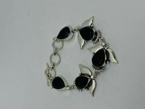 Natural Black Spinel Gemstone Teardrops Sterling Silver Adjustable Link Bracelet