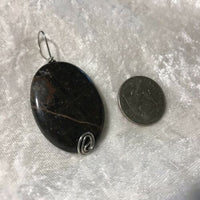 Brown Snowflake Obsidian Gemstone Carved Puffy Oval Pendant