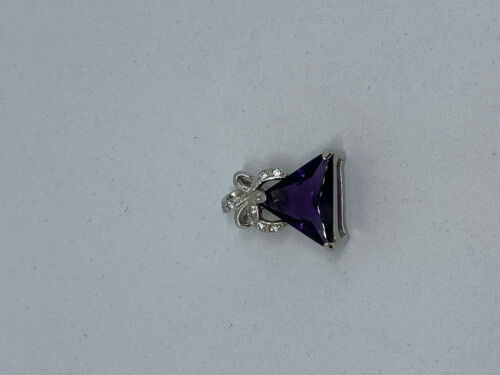 Natural Amethyst Gemstone Triangle and Sterling Silver Bow Pendant