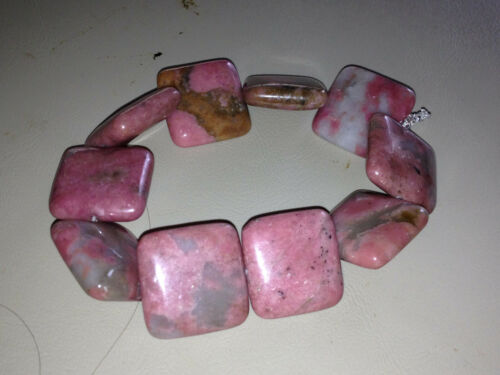 natural rodonite gemstone puffed squares beaded stretch bracelet