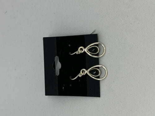 Natural Black Onyx Gemstone Teardrop Sterling Silver Dangle Earrings