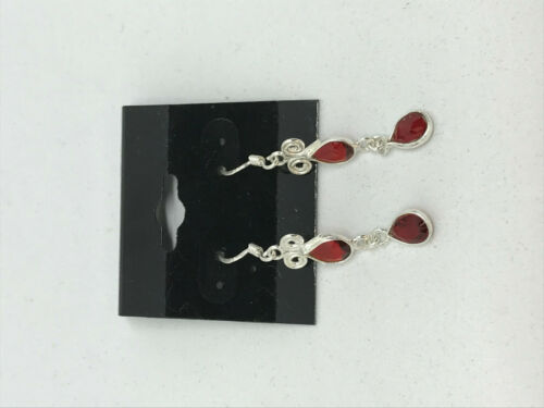 Natural Garnet Gemstone Teardrops Dainty Sterling Silver Dangle Earrings