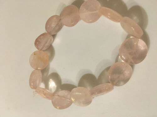 natural rose quartz gemstone puffy disks beaded stretch bracelet