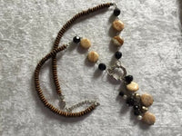 "Wood, Picture Jasper Gemstone, and Pearl 20""-22"" Adjustable Beaded Necklace"
