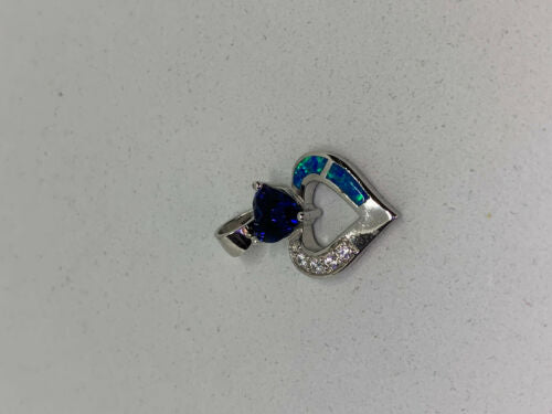 Natural Opal and Sapphire Gemstone Sterling Silver Heart Pendant