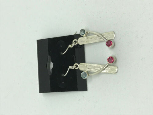 natural aquamarine and rubylite gemstone dangle sterling silver earrings