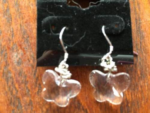 Sparkling clear glass faceted butterfly sterling silver dangle earrings
