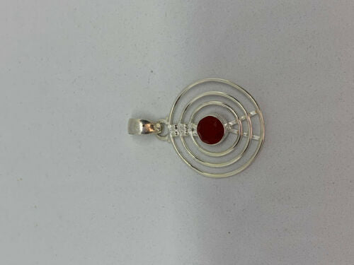 Natural Carnelian Gemstone Faceted Round Sterling Silver Pendant