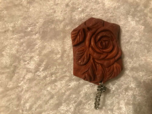 natural red malachite gemstone carved rose pendant