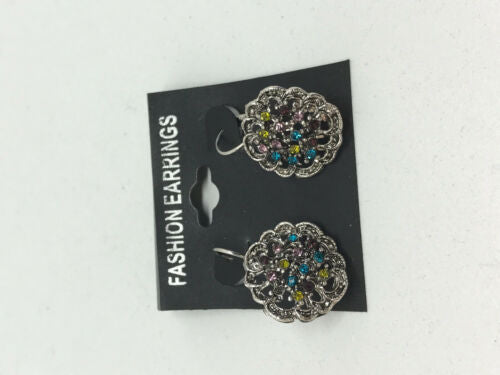 Sparkly Multicolor CZ Flower Silvertone Leverback Earrings