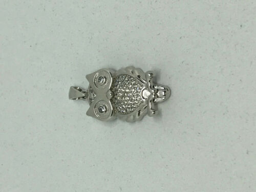 Natural White Sapphire Gemstone Sterling Silver Owl Pendant