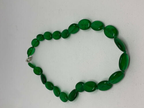 Natural Emerald Gemstone Ovals Beaded Necklace