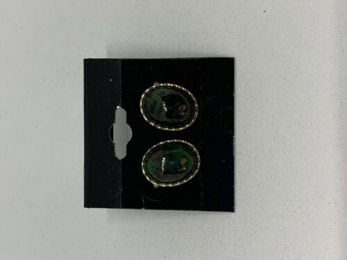 Natural Ruby Zoisite Gemstone Oval Stud Sterling Silver Earrings