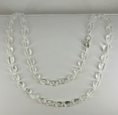 Natural Clear Quartz Gemstone Ovals Beaded Necklace