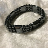 Healing Magnetic Hematite and Gemstone Wide Beaded Stretch Bracelet