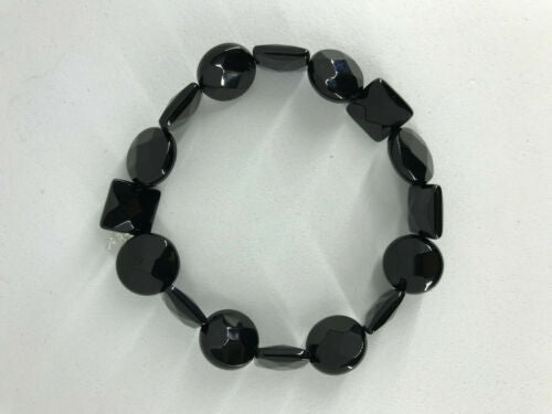 Natural Black Onyx Faceted Square Coin or Alternating Beaded Stretch Bracelet