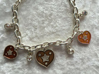 Silvertone Multicolor Adjustable Heart Enamel Charm Bracelet
