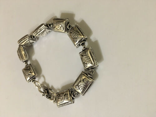 Silvertone Rectangles with Leaf Design Link Bracelet