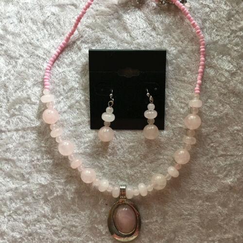 natural rose quartz gemstone beaded necklace and dangle earrings set