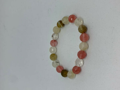 Natural Watermellon Tourmaline Gemstone Faceted Round Beaded Stretch Bracelet