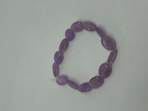Natural Amethyst Gemstone Small Ovals Beaded Stretch Bracelet