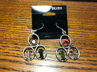 Natural Tourmaline and Garnet Gemstone Sterling Silver Dangle Earrings