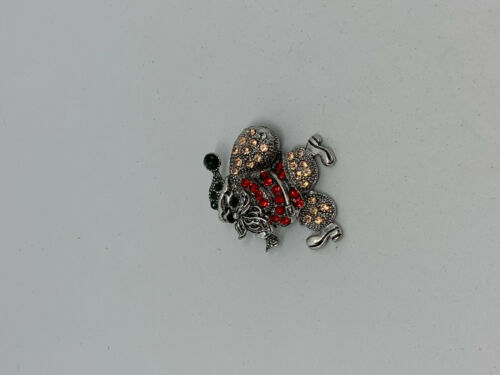 Christmas Silver Santa Claus Pin Brooch with Red and Black Rhinestones