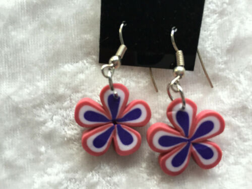 polymer clay red white and blue daisy dangle earrings