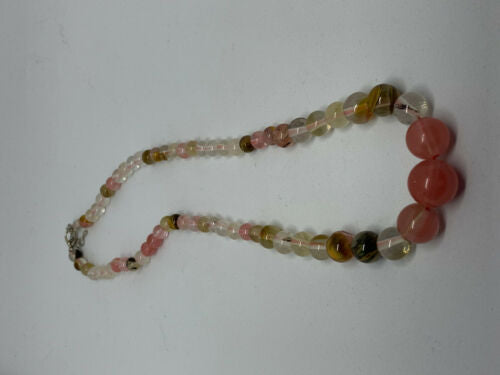 Natural multicolor Tourmaline Gemstone Graduated Round Beaded Necklace
