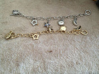Gold Or Silver Tone Charm Bracelets Angel Sea Life Celestial or Insect
