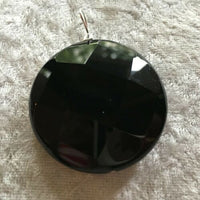 Natural Black Onyx Gemstone Faceted Coin Pendant