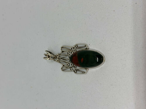 Natural Bloodstone Gemstone Marquise Sterling Silver Pendant