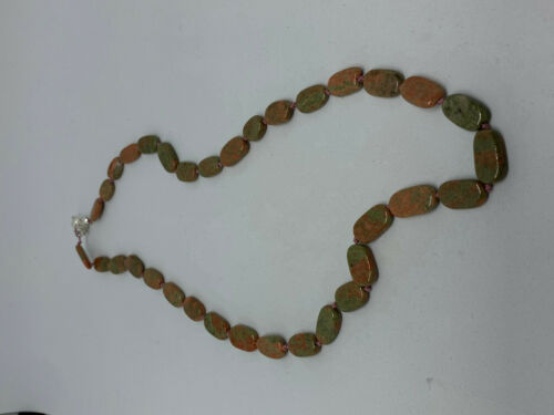 Natural Unakite Gemstone Ovals Beaded Necklace