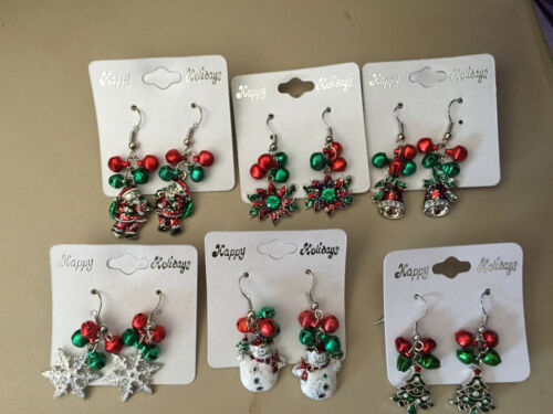 christmas charm and jingle bells dangle earrings