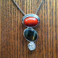 carnelian tiger eye and clear quartz gemstone sterling silver pendant