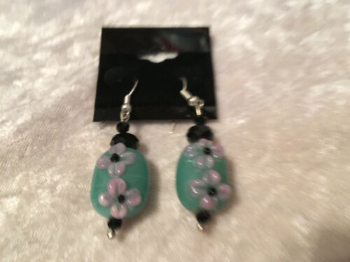pink and blue lampworked glass flowers dangle earrings