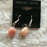 natural pink opal gemstone faceted oval sterling silver dangle earrings