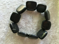 Natural Blackstone Gemstone Large Squares Beaded Stretch Bracelet