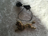 gold tone poodle pendant on adjustable cord necklace