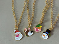 christmas character pendant on 24 inch necklace santa elf reindeer snowman