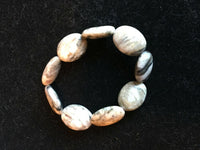 Natural Desert Pink Marble Gemstone Ovals Beaded Stretch Bracelet
