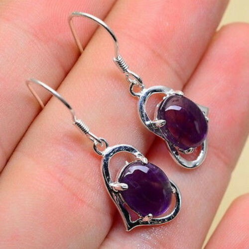 Natural Amethyst Gemstone Heart Shaped Sterling Silver Dangle Earrings