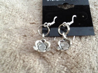 Silvertone Flower Charm Dangle Earrings with Silvertone or Sterling Hooks