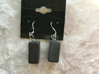 Natural Blackstone Gemstone Chunky Cube Sterling Silver Dangle Earrings