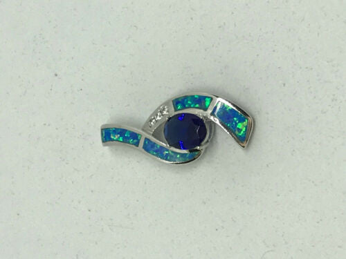 natural sapphire and opal gemstone oval sterling silver pendant