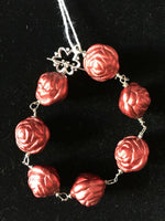 Acrylic 3d Red Roses Beaded Link Bracelet