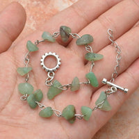 natural green aventurine gemstone chips beaded link bracelet