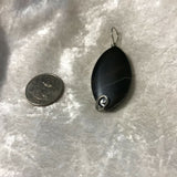Natural Black Agate Gemstone Carved Oval Pendants