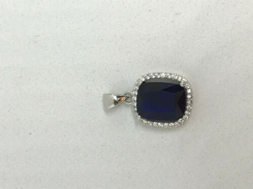 Natural Sapphire Gemstone Rectangle Sterling Silver Pendant